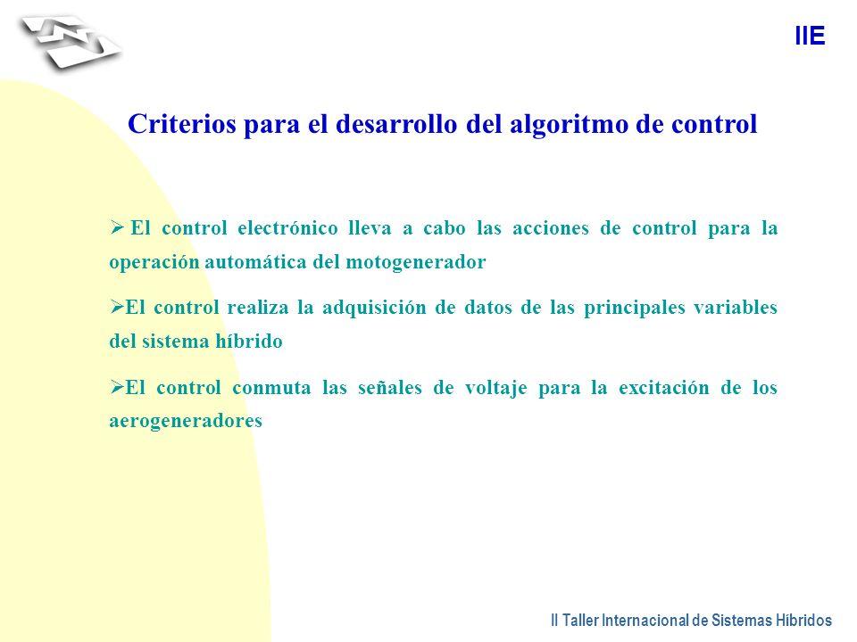 Criterios para el desarrollo del algoritmo de control