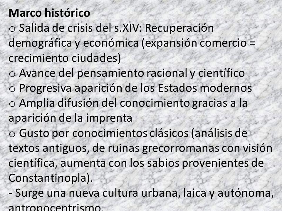 Marco histórico Salida de crisis del s.XIV: Recuperación demográfica y económica (expansión comercio = crecimiento ciudades)