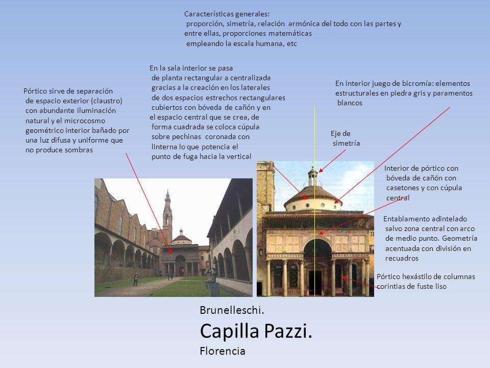 Capilla Pazzi. Brunelleschi. Florencia Características generales: