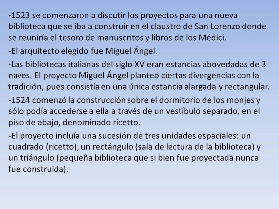 1523 se comenzaron a discutir los proyectos para una nueva biblioteca que se iba a construir en el claustro de San Lorenzo donde se reuniría el tesoro de manuscritos y libros de los Médici.