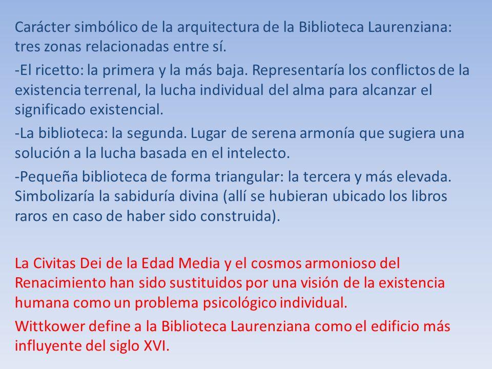 Carácter simbólico de la arquitectura de la Biblioteca Laurenziana: tres zonas relacionadas entre sí.