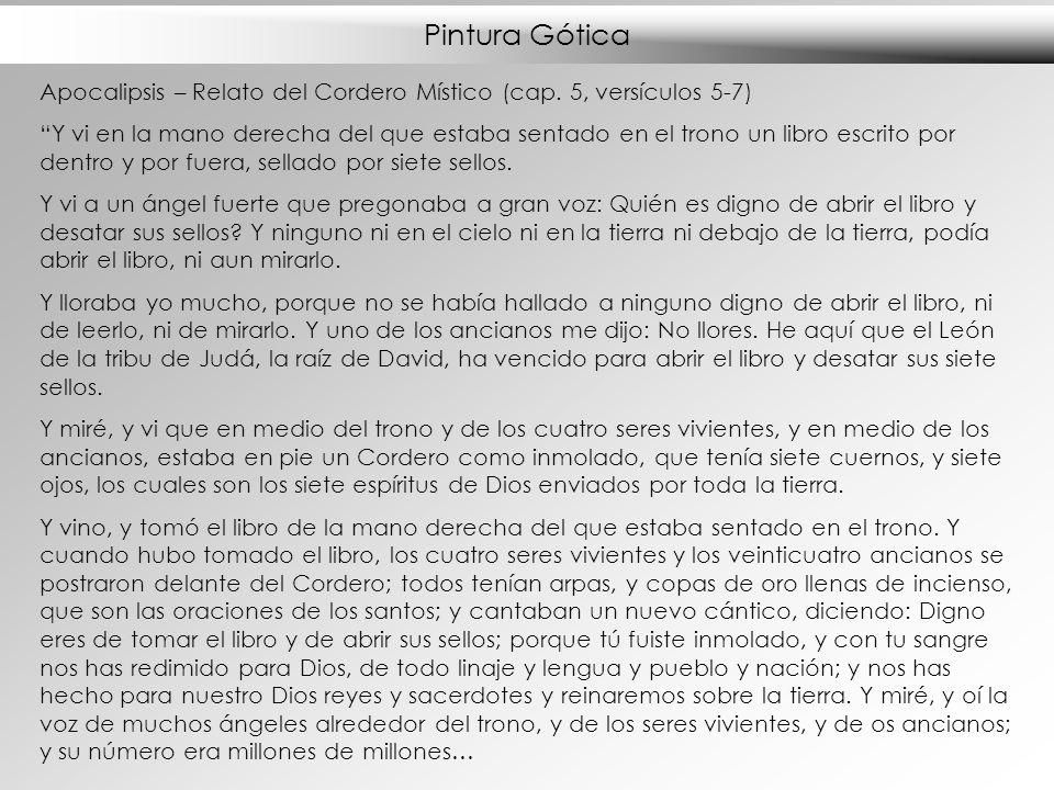 Pintura Gótica Apocalipsis – Relato del Cordero Místico (cap. 5, versículos 5-7)