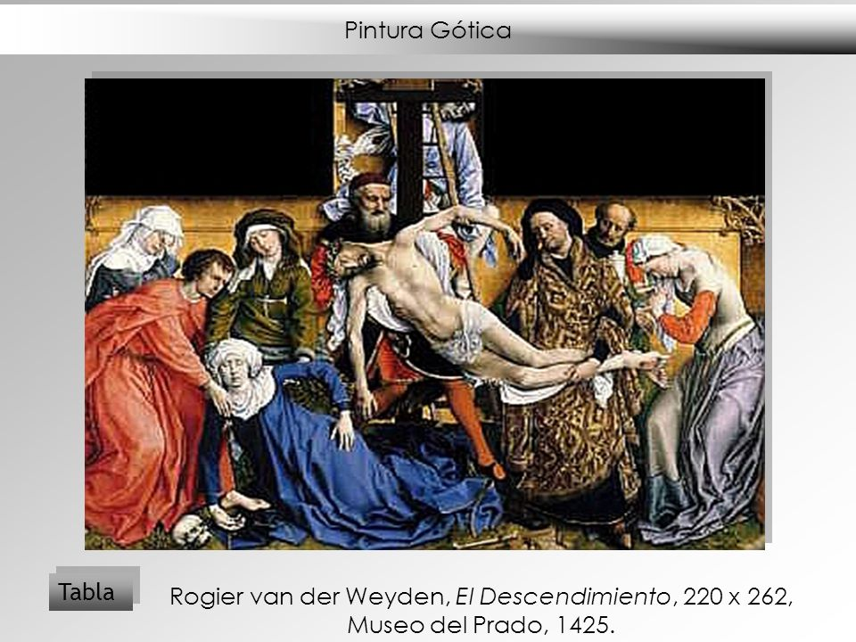 Pintura Gótica Tabla Rogier van der Weyden, El Descendimiento, 220 x 262, Museo del Prado, 1425.