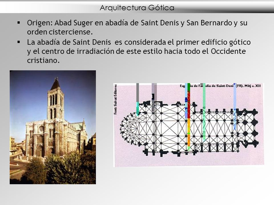Arquitectura Gótica Origen: Abad Suger en abadía de Saint Denis y San Bernardo y su orden cisterciense.