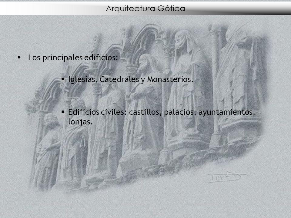 Arquitectura Gótica Los principales edificios: Iglesias, Catedrales y Monasterios.