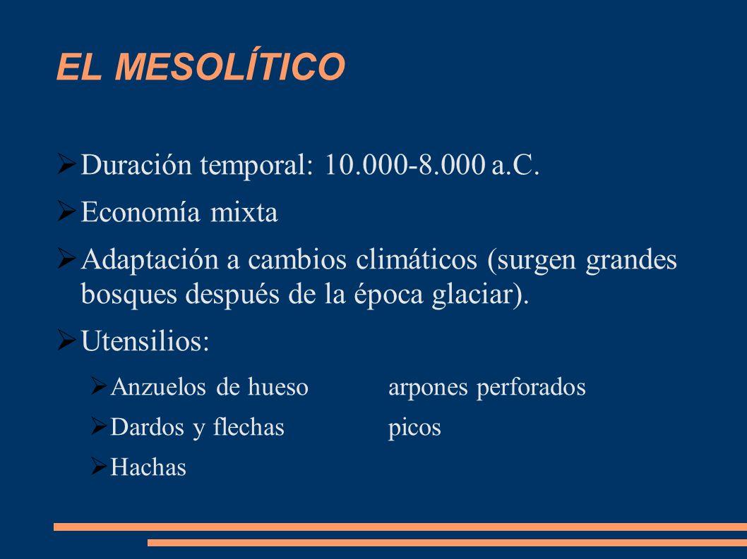 EL MESOLÍTICO Duración temporal: 10.000-8.000 a.C. Economía mixta