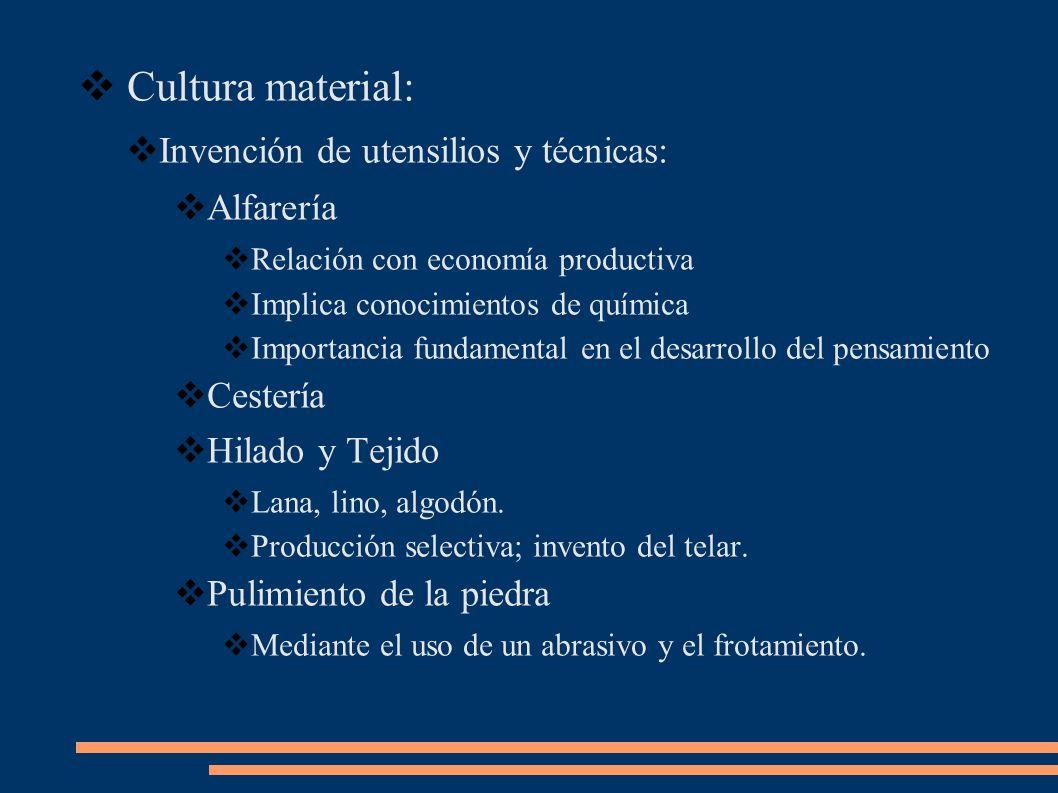Cultura material: Invención de utensilios y técnicas: Alfarería
