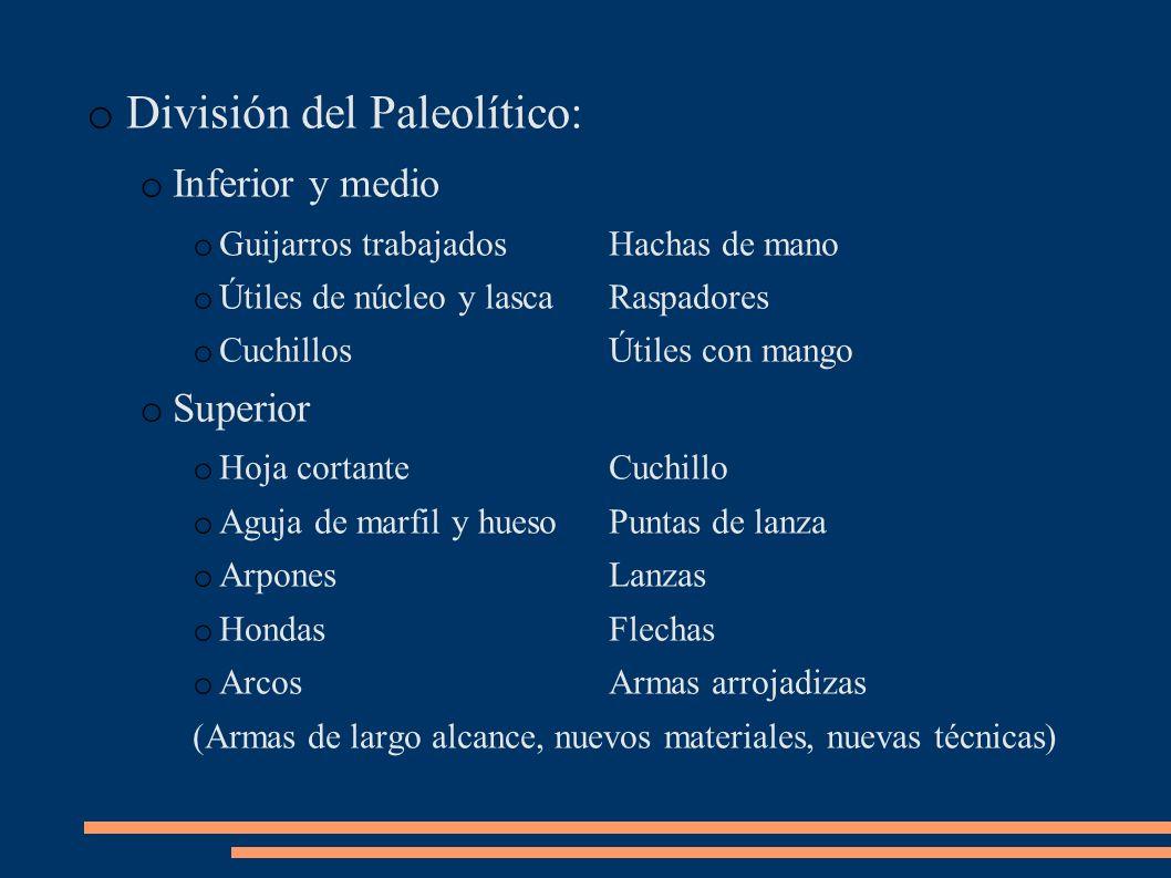 División del Paleolítico: