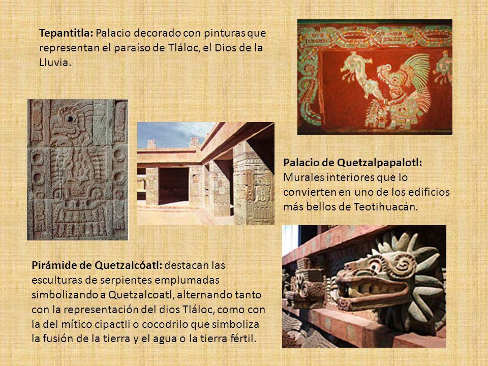 Tepantitla: Palacio decorado con pinturas que representan el paraíso de Tláloc, el Dios de la Lluvia.