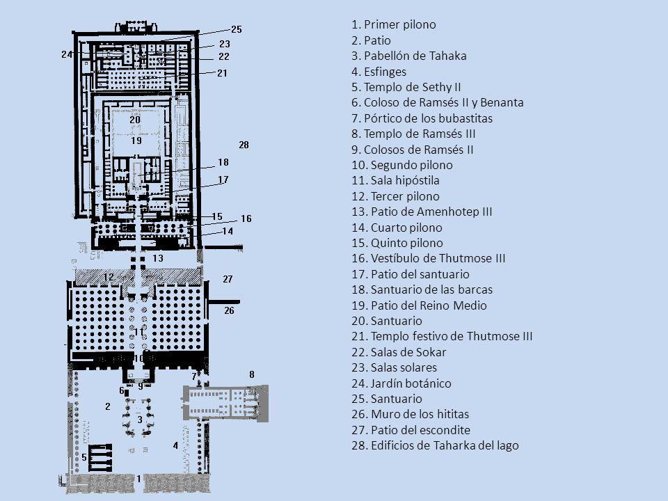 1. Primer pilono 2. Patio 3. Pabellón de Tahaka 4. Esfinges 5