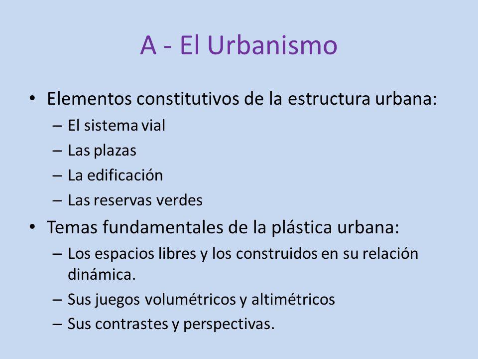 A - El Urbanismo Elementos constitutivos de la estructura urbana: