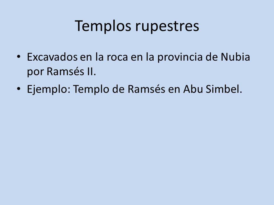 Templos rupestresExcavados en la roca en la provincia de Nubia por Ramsés II.