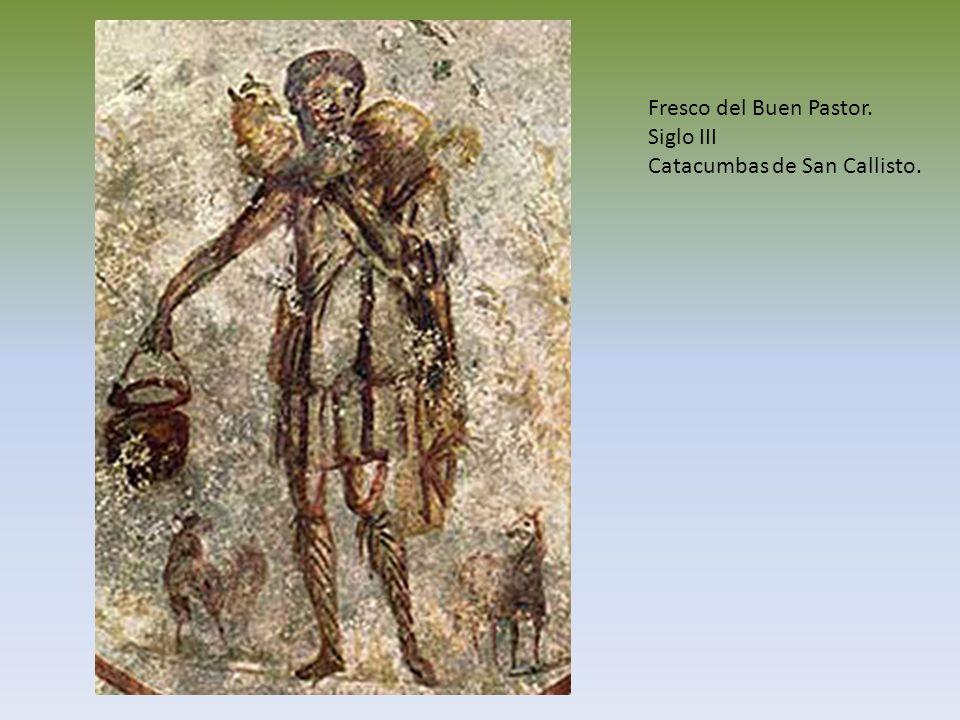 Fresco del Buen Pastor. Siglo III Catacumbas de San Callisto.