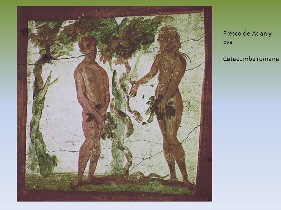 Fresco de Adan y Eva Catacumba romana