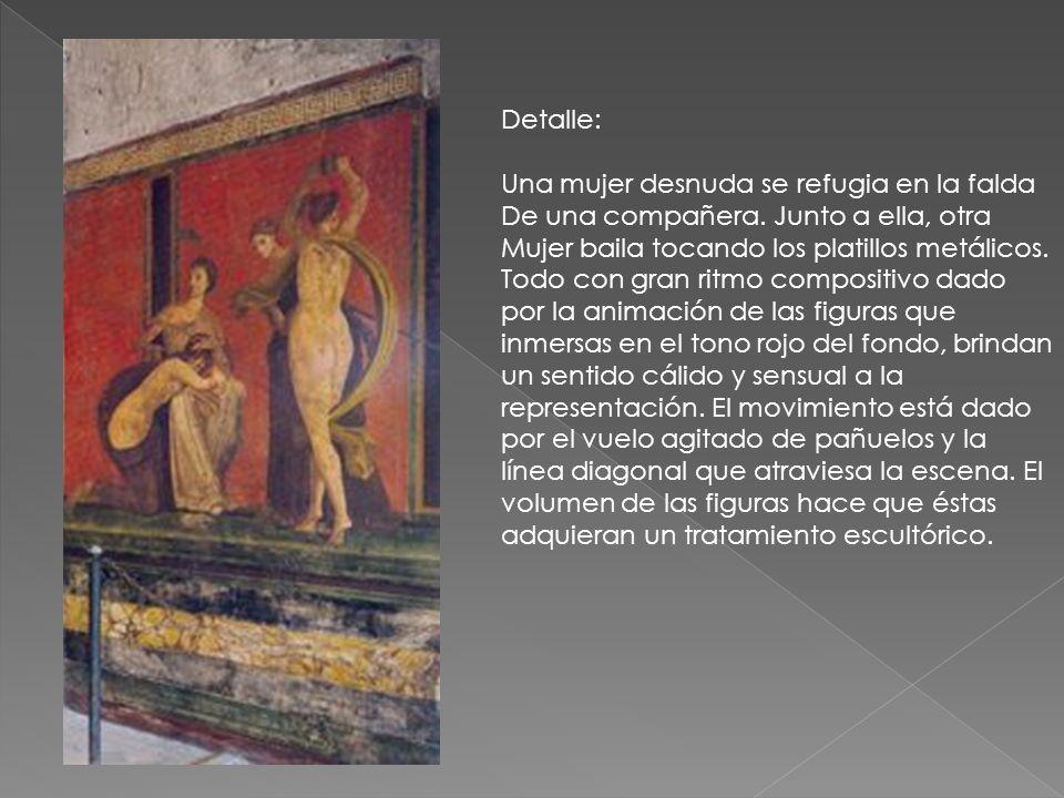 Detalle: Una mujer desnuda se refugia en la falda. De una compañera. Junto a ella, otra. Mujer baila tocando los platillos metálicos.