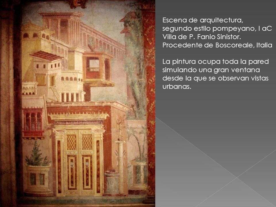 Escena de arquitectura, segundo estilo pompeyano, I aC