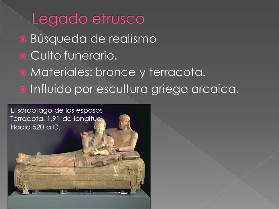 Legado etrusco Búsqueda de realismo Culto funerario.