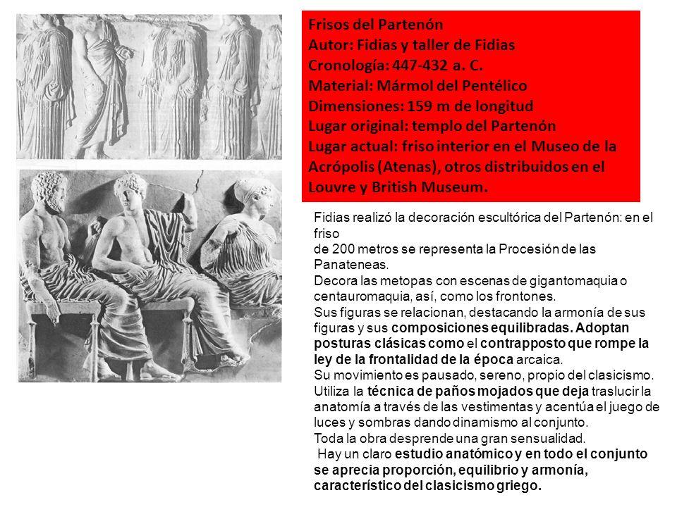 Autor: Fidias y taller de Fidias Cronología: 447-432 a. C.