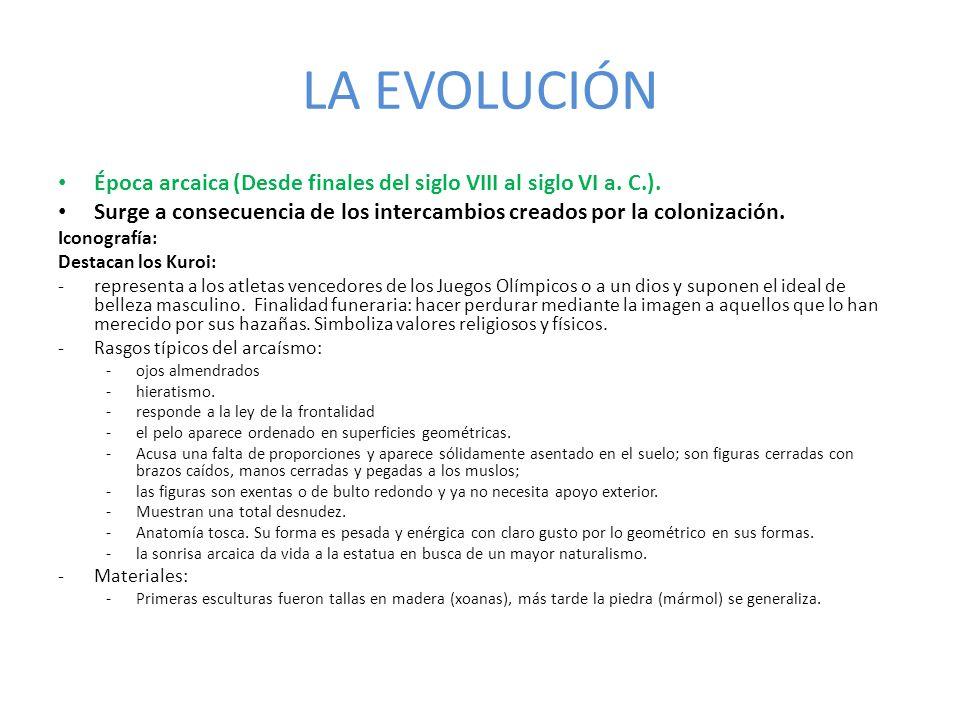 LA EVOLUCIÓN Época arcaica (Desde finales del siglo VIII al siglo VI a. C.). Surge a consecuencia de los intercambios creados por la colonización.