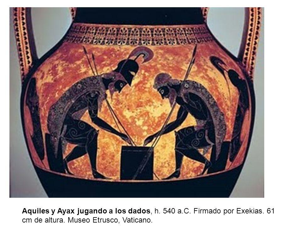 Aquiles y Ayax jugando a los dados, h. 540 a. C. Firmado por Exekias