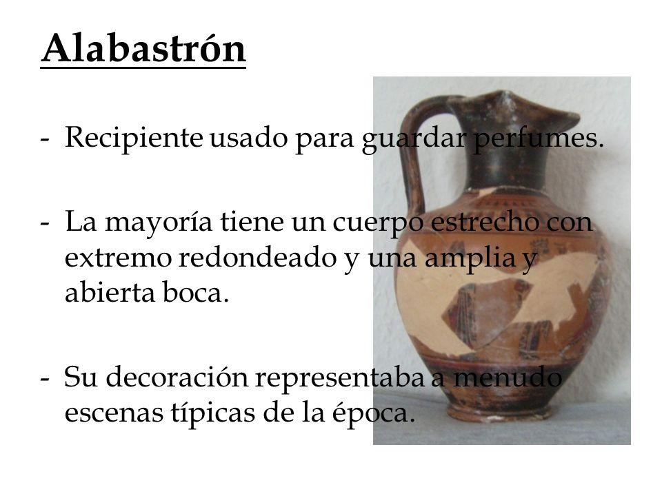 Alabastrón Recipiente usado para guardar perfumes.