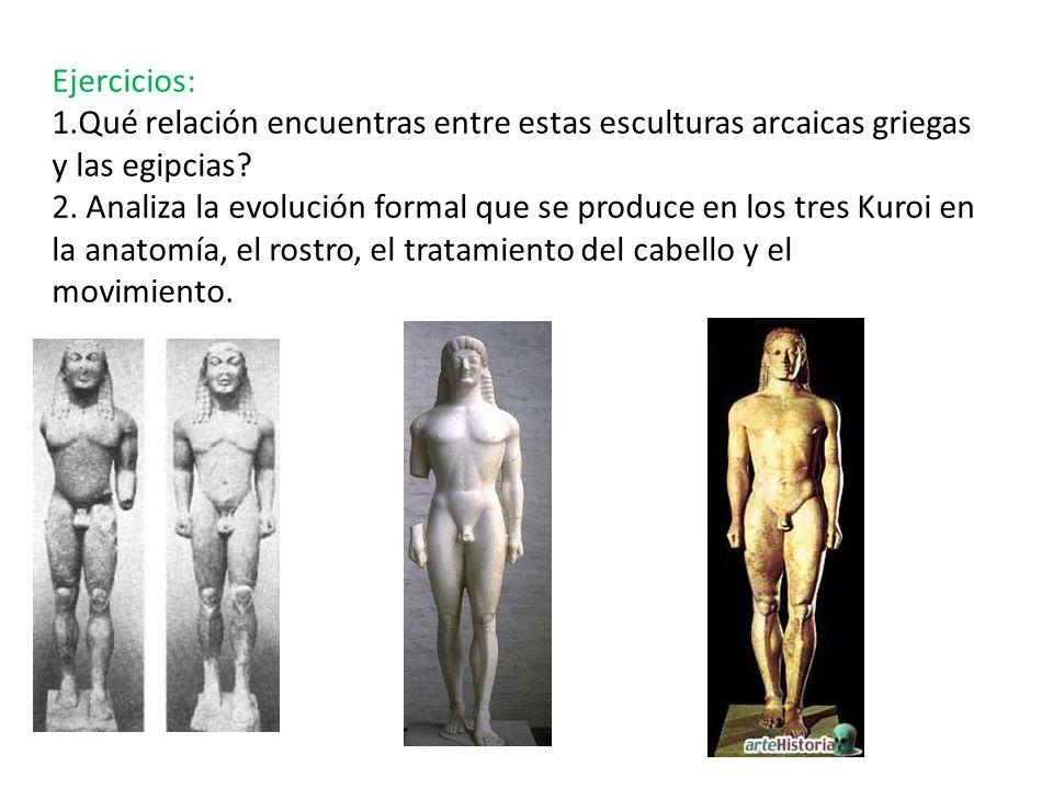 Ejercicios: 1.Qué relación encuentras entre estas esculturas arcaicas griegas y las egipcias.