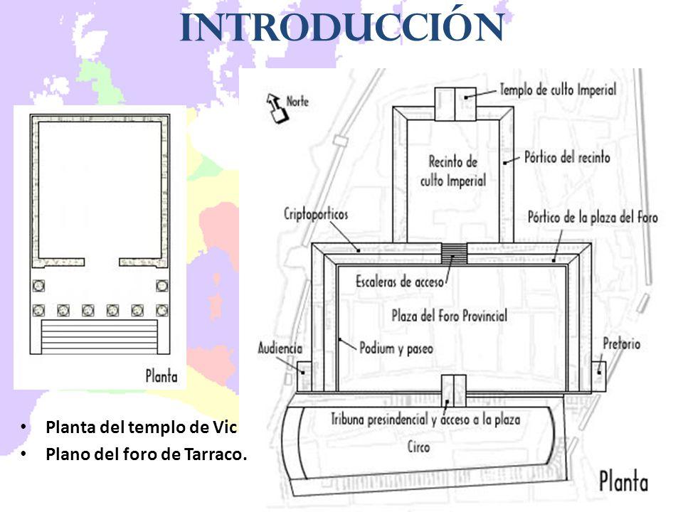 Introducción Planta del templo de Vic Plano del foro de Tarraco.