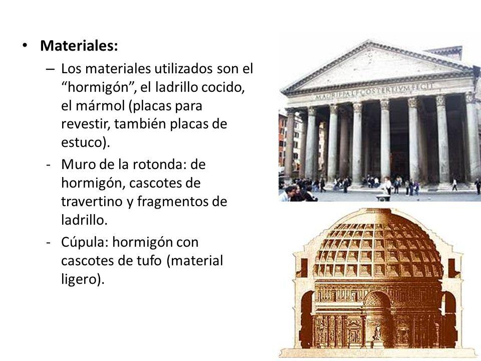 Materiales: Los materiales utilizados son el hormigón , el ladrillo cocido, el mármol (placas para revestir, también placas de estuco).