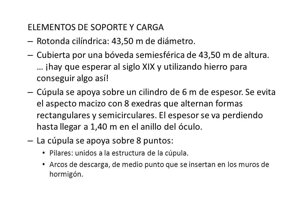 ELEMENTOS DE SOPORTE Y CARGA Rotonda cilíndrica: 43,50 m de diámetro.