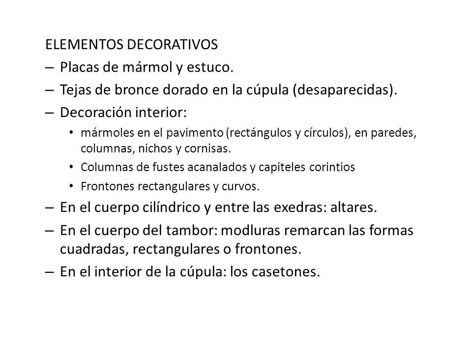 ELEMENTOS DECORATIVOS Placas de mármol y estuco.