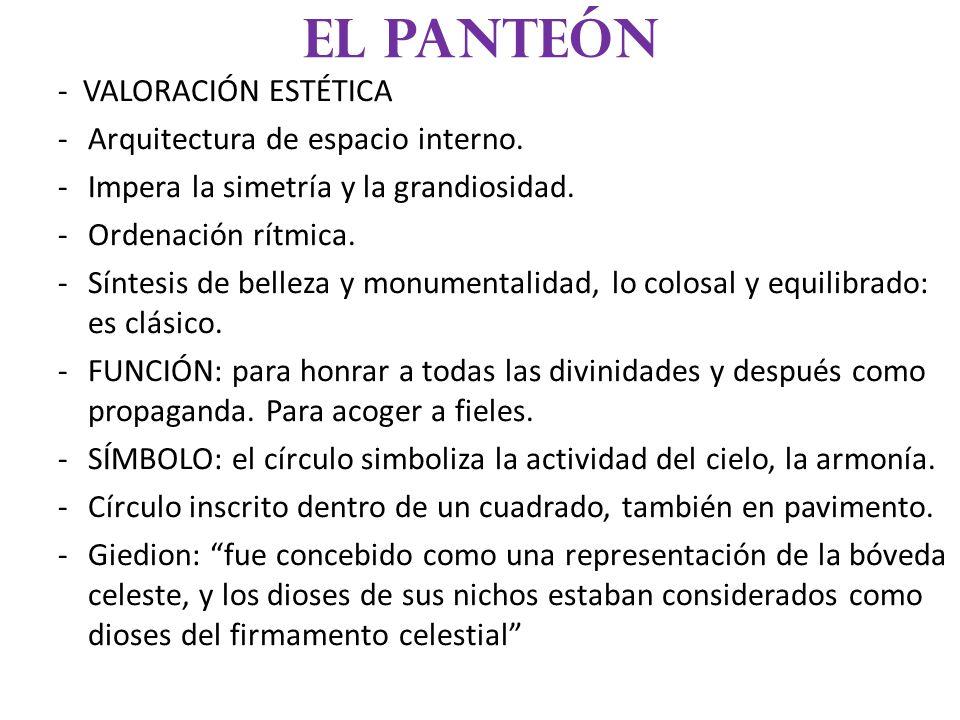El panteón - VALORACIÓN ESTÉTICA Arquitectura de espacio interno.