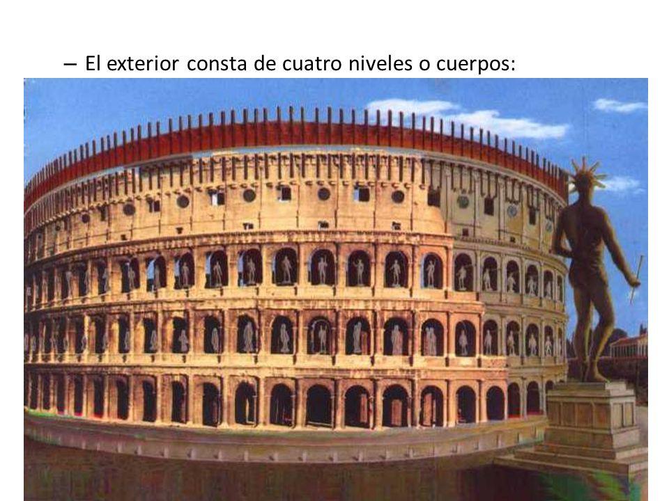 El exterior consta de cuatro niveles o cuerpos: