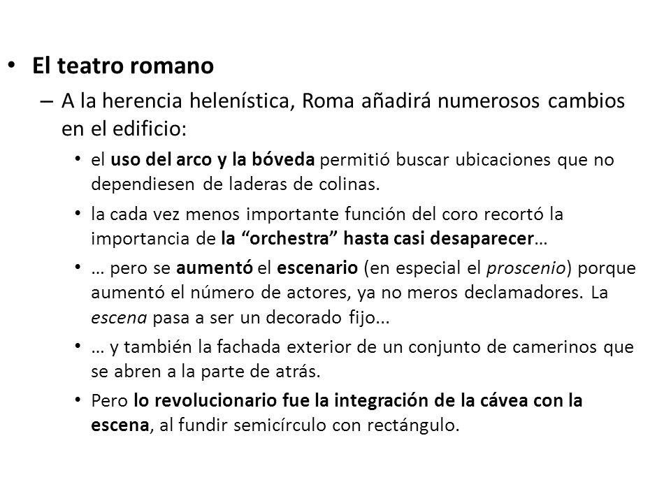 El teatro romano A la herencia helenística, Roma añadirá numerosos cambios en el edificio:
