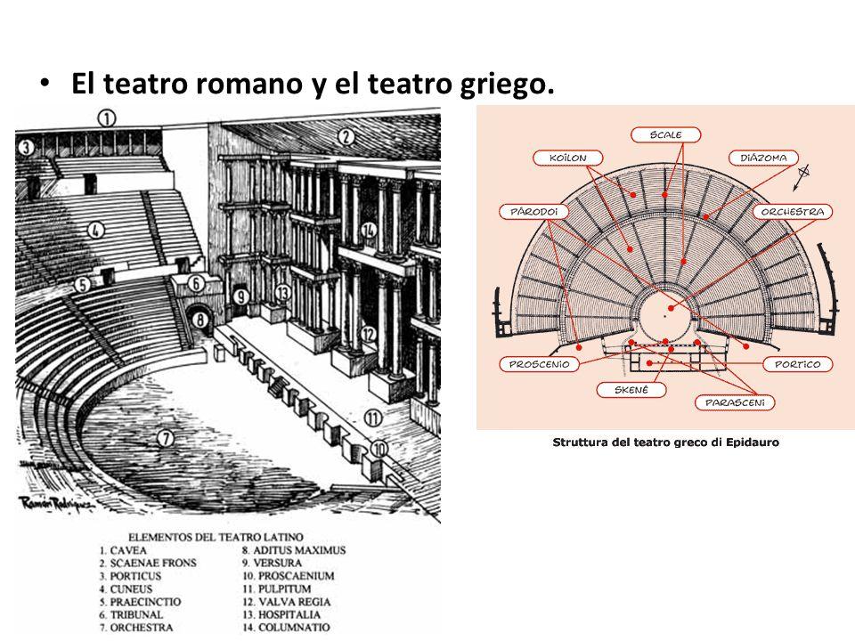 El teatro romano y el teatro griego.