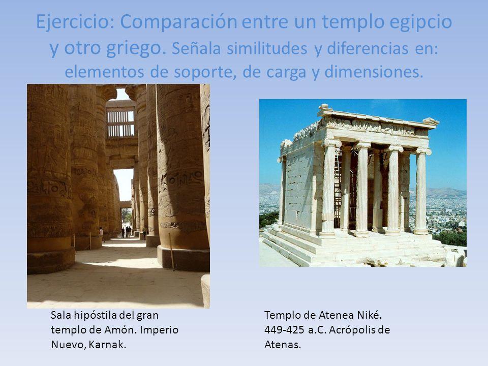 Ejercicio: Comparación entre un templo egipcio y otro griego