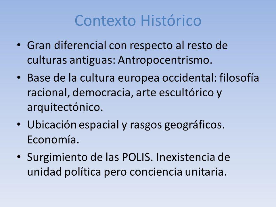 Contexto Histórico Gran diferencial con respecto al resto de culturas antiguas: Antropocentrismo.