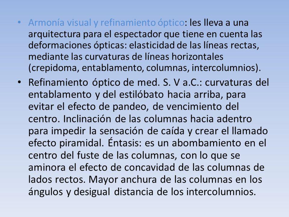 Armonía visual y refinamiento óptico: les lleva a una arquitectura para el espectador que tiene en cuenta las deformaciones ópticas: elasticidad de las líneas rectas, mediante las curvaturas de líneas horizontales (crepidoma, entablamento, columnas, intercolumnios).