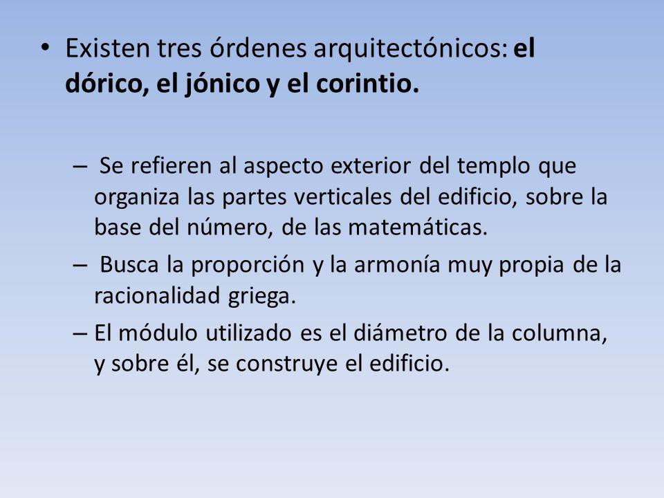 Existen tres órdenes arquitectónicos: el dórico, el jónico y el corintio.