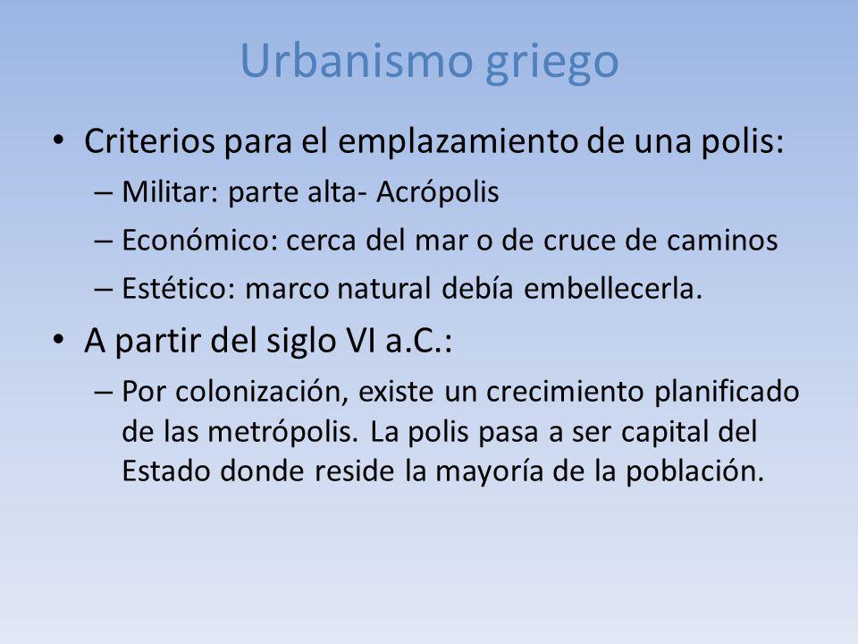 Urbanismo griego Criterios para el emplazamiento de una polis:
