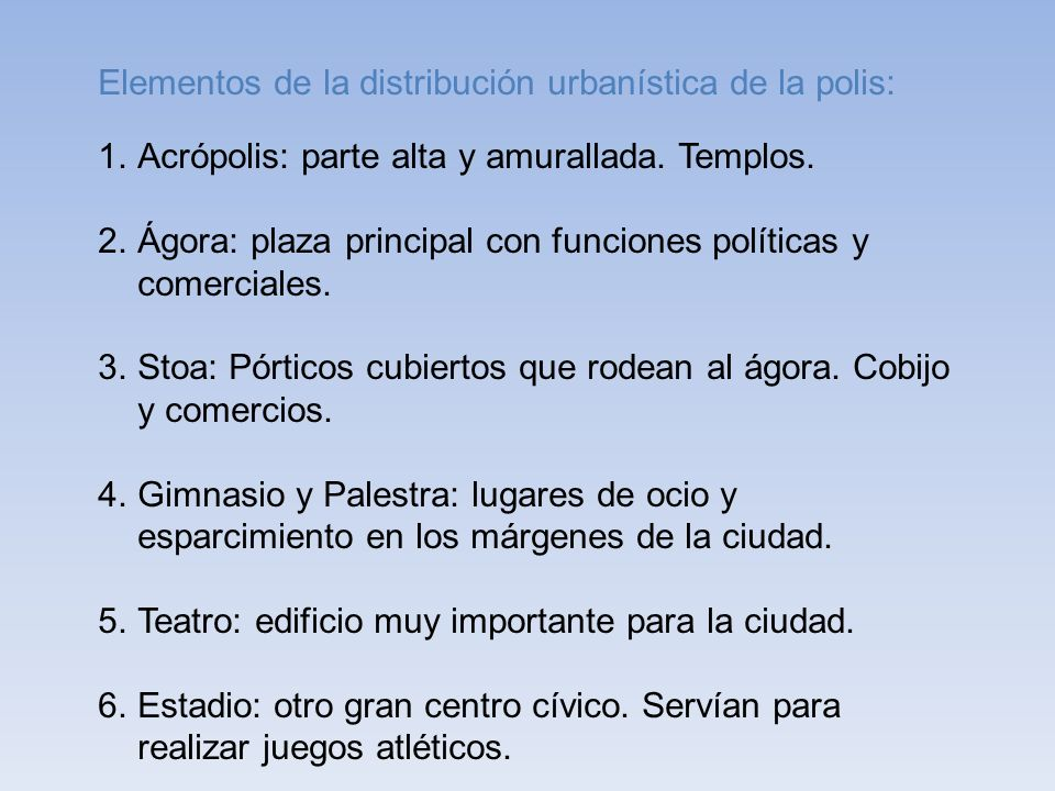 Elementos de la distribución urbanística de la polis: