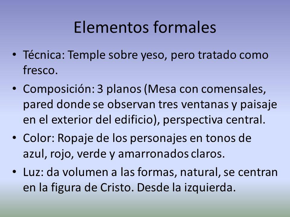 Elementos formalesTécnica: Temple sobre yeso, pero tratado como fresco.