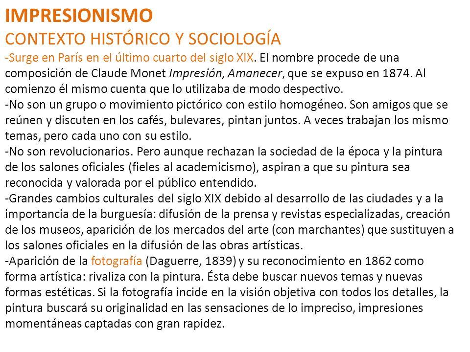 IMPRESIONISMO CONTEXTO HISTÓRICO Y SOCIOLOGÍA