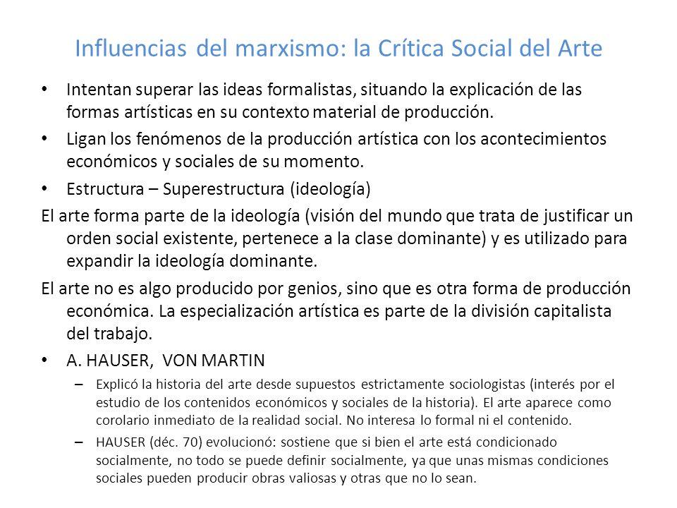 Influencias del marxismo: la Crítica Social del Arte