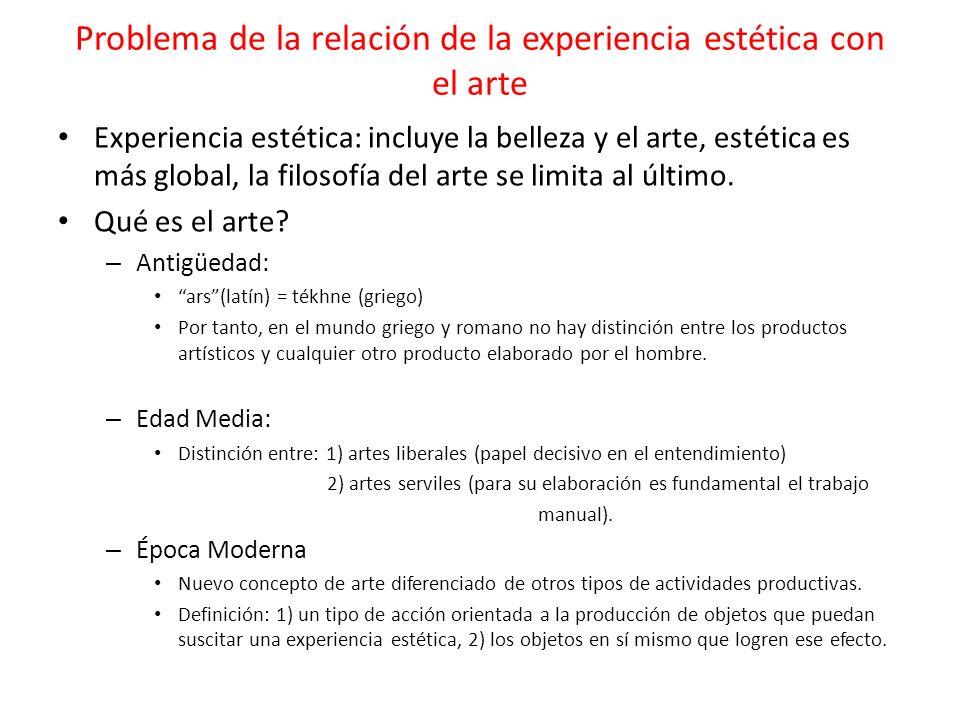 Problema de la relación de la experiencia estética con el arte