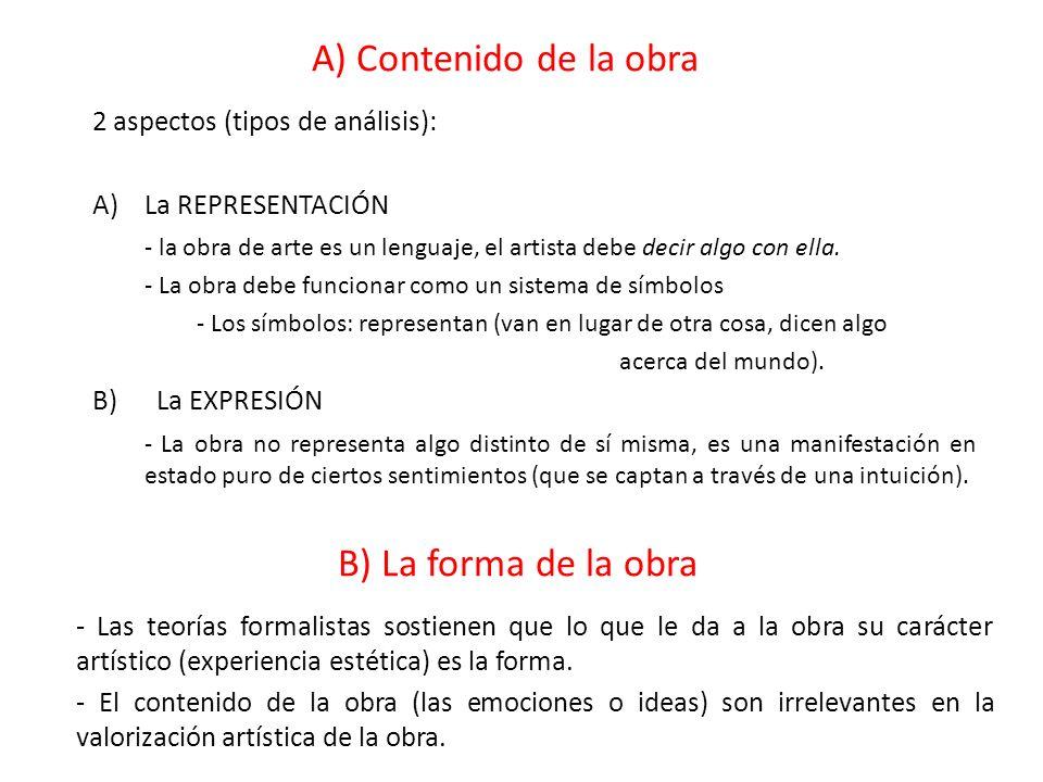 A) Contenido de la obra B) La forma de la obra