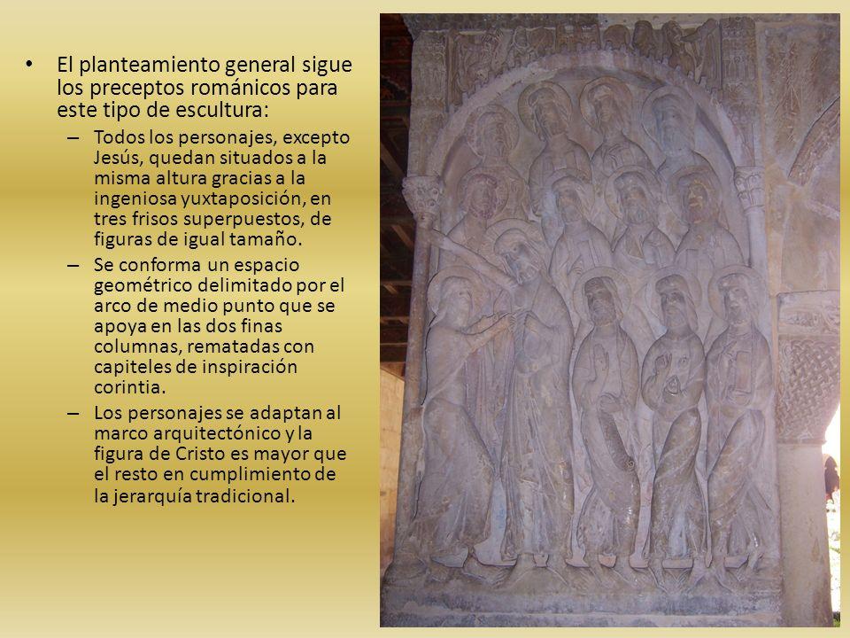El planteamiento general sigue los preceptos románicos para este tipo de escultura: