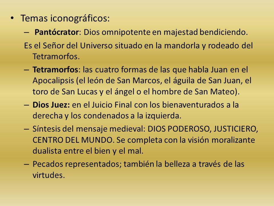 Temas iconográficos: Pantócrator: Dios omnipotente en majestad bendiciendo.