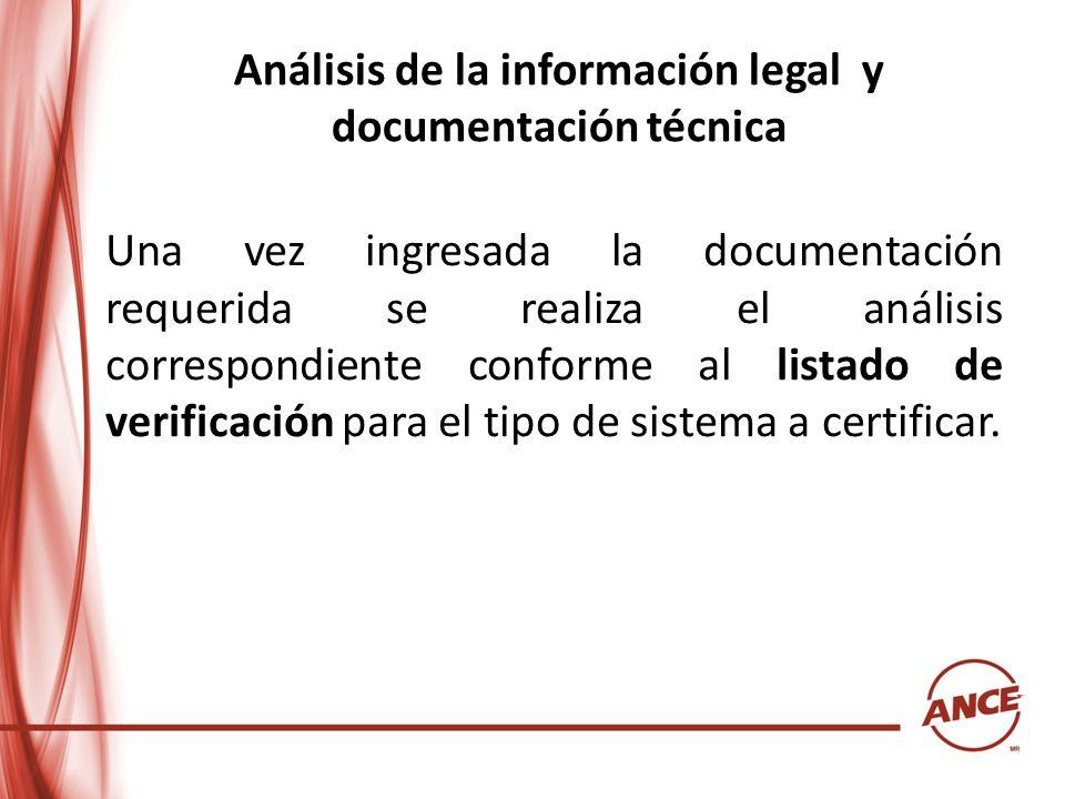 Análisis de la información legal y documentación técnica