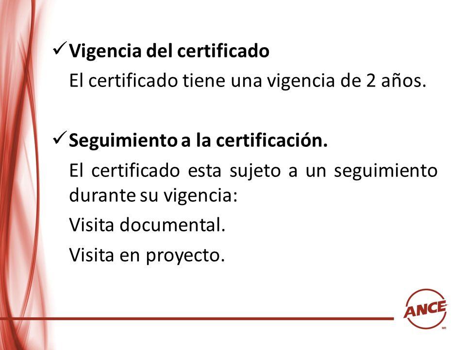 Vigencia del certificado