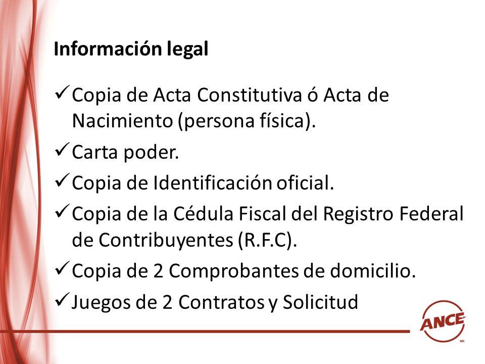 Información legalCopia de Acta Constitutiva ó Acta de Nacimiento (persona física). Carta poder. Copia de Identificación oficial.